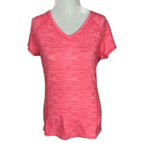 Hyba Athlertic V-Neck T-Shirt Heathered Pink Small